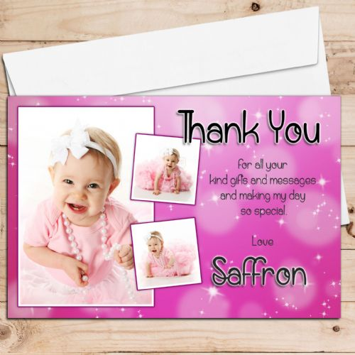 10 Personalised Girls Birthday Christening Thank you PHOTO Cards N62 - Any Occasion